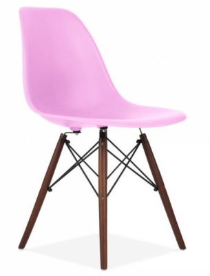 Eames Inspired Chair With A Lilac Sdeat And Walnut Legs Front Angle Shot