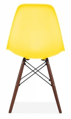 Eames Inspired Dsw Chair Lemon Seat And Walnut Legs Rear View