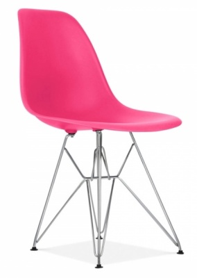 Eames DSW Chair Lipstick Pink Seat Front Angle