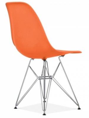 Eames Inspired Dsr Chair Orange Seat Rear Angle