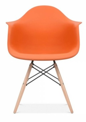 Eames Inspired DAW Chair Orange Seat Front Shot