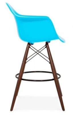 Eames Inspired DAW High Stool Light Blue Seat With Walnut Legs