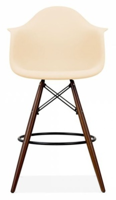 Eames Inspired DAW High Stool With A Cream Seat And Walnut Legs Front Shot