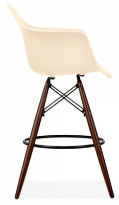 Eames Inspired DAW Stopol With A Cream Seat And Walnut Legs Side View