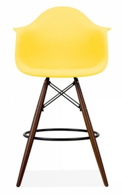 Eames Inspired DAW Hig Stool With Wooden Legs