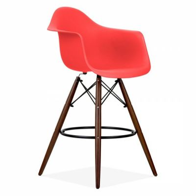Eames Inspired DAW High Stool With A Red Seat And Walnut Legs Front Angle Shot