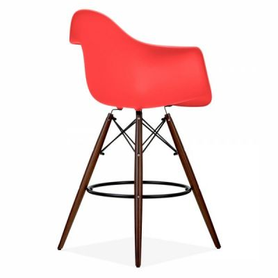 Eames Inspired DAW High Stool With A Red Seat And Walnut Legs Front Angle