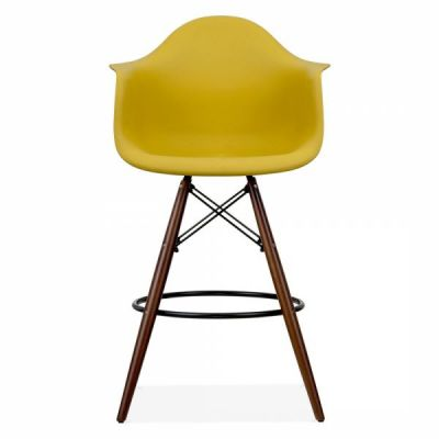 Eames Inspired DAW High Stoolo With An Olive Green Seat And Walnut Legs Front View