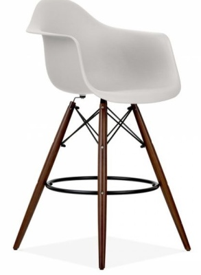 Eames DAW Inspired High Stool With A Light Grey Seat And Walnut Legs Front Angle