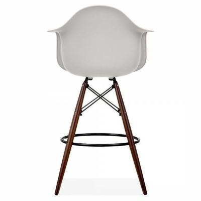 Eames DAW Inspired High Stool With A Light Grey Seat And Walnut Legs