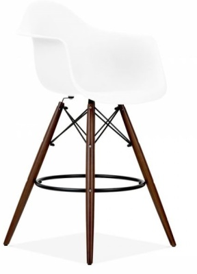 Eames DAW Inspired High Stool With A White Seat And Walnut Legs Front Angle Shot