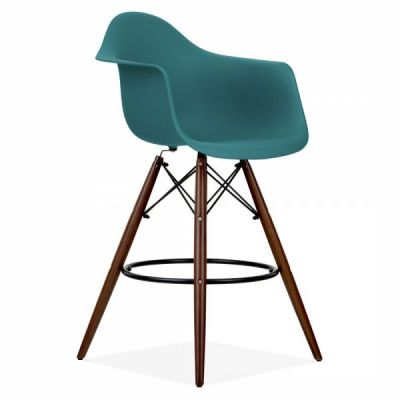 Eames Daw Inspired High Stool With A Teal Seat And Walnut Legs Front Angle