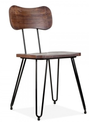 Tinto Industrial Chair Walnut Seatv And Back Front Angle