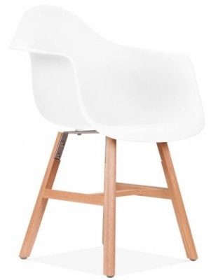 Eames Inspired DAW Chair With A White Seat And Oxford Legs Front Angle