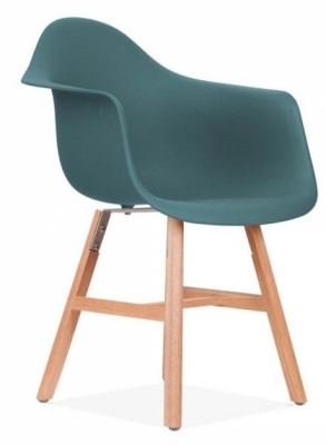 Eames Inspired DAW Chair With A Teal Seat And Oxford Legs Front Angle