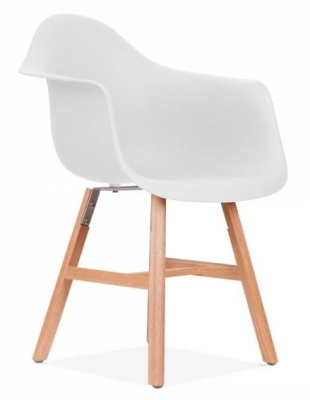 Eames Inspired DAW Chgair With An Off White Seat And Oxford Legs Front Angle Shot