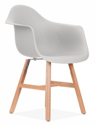 Eames Inspired DAW Chair With A Light Grey Seat And Oxford Legs Front Angle Shot