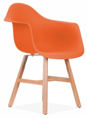 Eames Inspired DAW Chair With An Orange Seat And Oxford Legs Front Angle