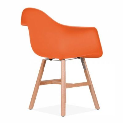 Eames Inspired DAW Chair With An Orange Seat And Oxford Legs Rear Angle