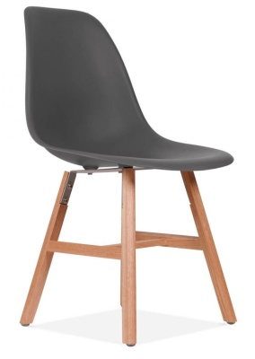 Eames Inspired DSW Chair With Oxford Legs And A Warm Grey Seat Front Angle Shot