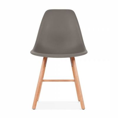 Eames Inspired DSW Chair Wioth A Warm Grey Seat And Oxford Legs Front Shot