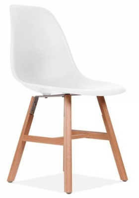 Eames Inspired DSW Chair With A White Seat Jand Oxford Legs Front Angle View