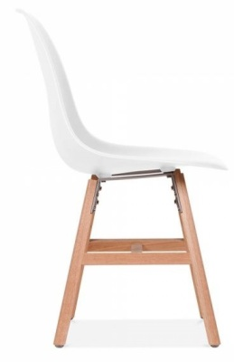 Eames Inspired DSW Chair With Oxford Legs And A White Seat Side View