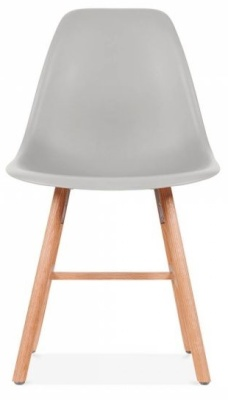Eames Io Nspired DSW Chair With A Light Grey Seat And Oxford Legs Front View