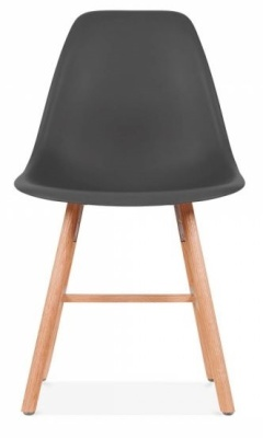 Eames Inspired DSW Chair Wit A Dark Grey Seat And Oxford Legs Front View