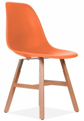 Eames Inspired DSW Chjair With An Orange Seat And Oxford Legs