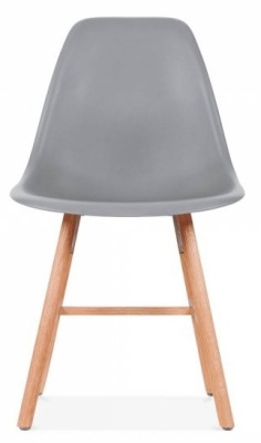 Eames Inspired DSW Chair With A Cool Grey Seat And Oxford Legs Front View