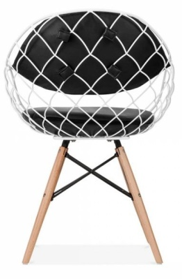 Parios Wire Chair With A White Frame Rear View