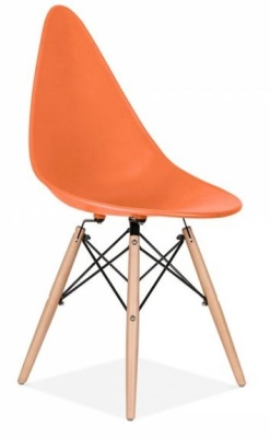 Scalena Designer Chair With An Orange Seat Front Angle