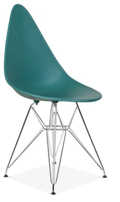 Cadiz Designer Poly Chair Teal Seat Front Angle