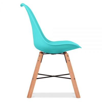 Crosstown Chair Wit A Turquoise Seat Side View