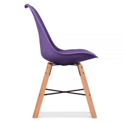 Crosstown Chair With A Purple Seat Side Angle