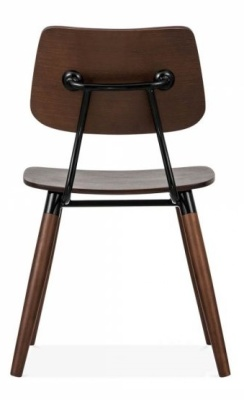 Amy Chair Adark Wood Black Accents Rear View