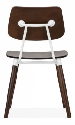 Amy Chair Rear View Dark Wood With White Accents