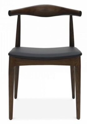 Elbow Inspired Chair With A Black Faux Leather Seat