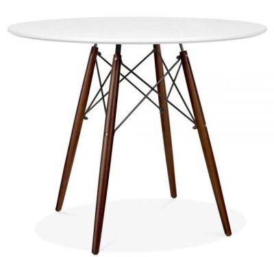 Eames DSW Table Wit A White Top And Walnut Legs