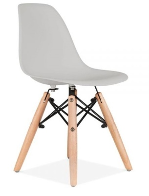 Eames Inspired Junior DSW Chair Hwith A Grey Seat Front Angle