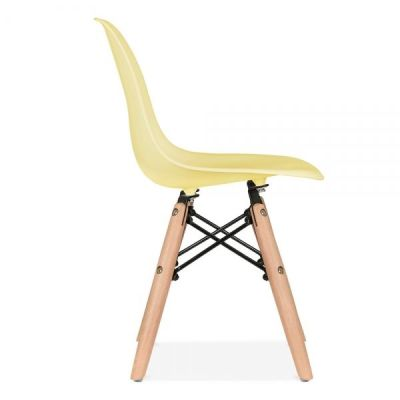 Eames Inpired Junior Dsw Chair With A Yellow Seat Side View