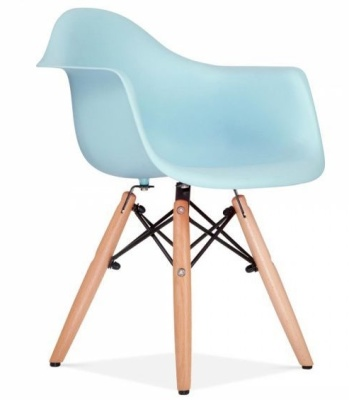 Eames Inapired DAW Chair With A Light Blue Seat Front Angle