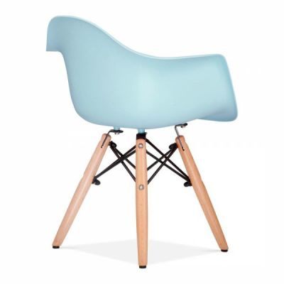 Eames Inapired Junior DAW Chiar With A Light Blue Seat Rear Angle
