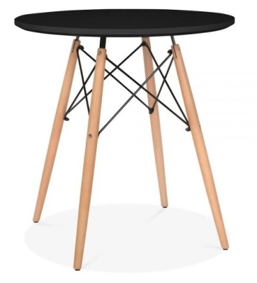 Eames Inspired DSW Table With A Black Top And Natural Legs