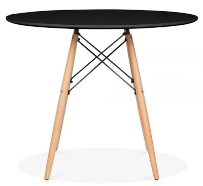 Eames Inspired DSW Table With A Black Top And Natural Legs 4