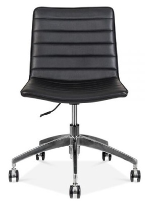 Deco Black Leather Swivel Chair Black PU Leather