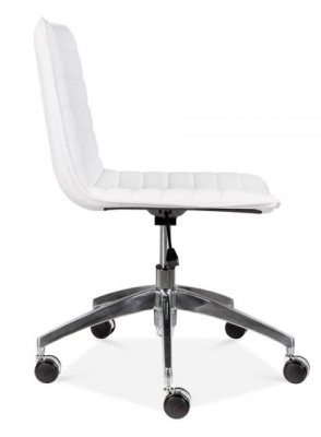Deco White Pu Leather Chair Side View