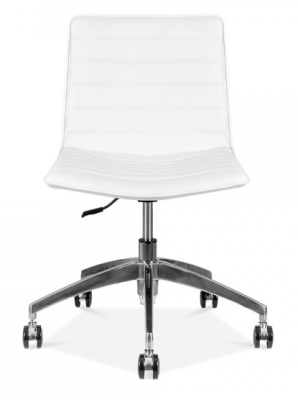 Deco White Pu Leather Chair Front View
