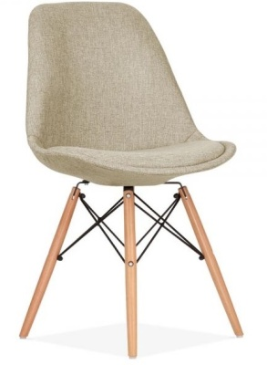 Eames Inspired DSW Chair Beige Upholstery Front Angle